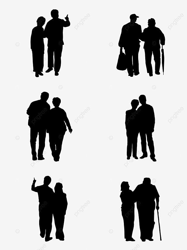 Commercial Vector Character Old Couple Silhouette Commercial Vector Person Png And Vector With Transparent Background For Free Download In 2021 Couple Silhouette Person Silhouette Old Couples