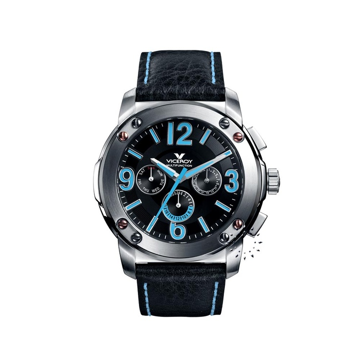 VICEROY Multifunction Black Leather Strap  139€  http://www.oroloi.gr/product_info.php?products_id=26831