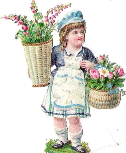 Oblaten Glanzbild scrap die cut chromo Kind child Blumen Korb basket  Rose