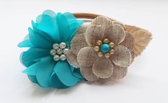 Teal Flower and Burlap Headband/Flower Girls/Wedding/baby