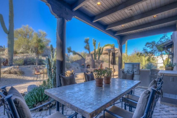 Southwestern Patio with Pathway, outdoor pizza oven, Outdoor kitchen, exterior brick floors