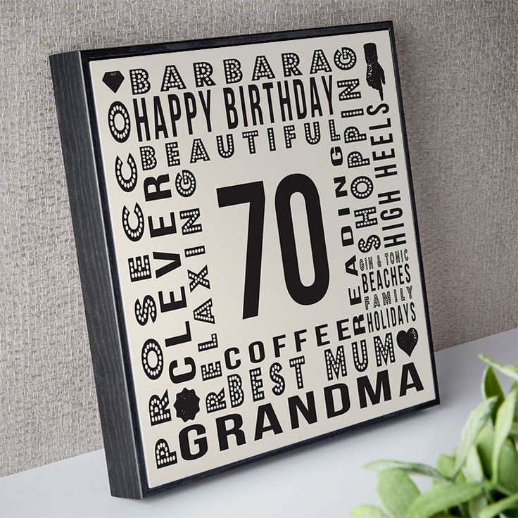 70th birthday gift for her of personalised age square