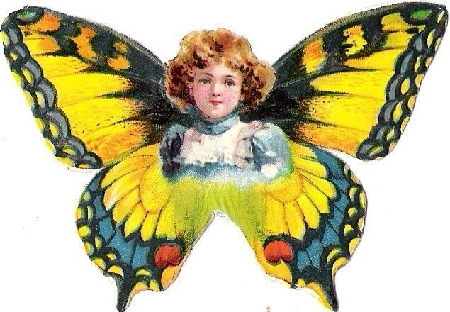 Oblaten Glanzbild scrap die cut chromo Schmetterling Kind child Elfe butterfly