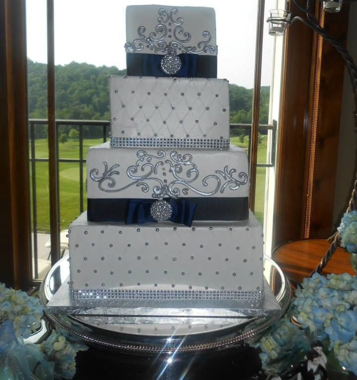 royal blue and white square wedding cakes square wedding cake royal blue amp silver cakes 19357