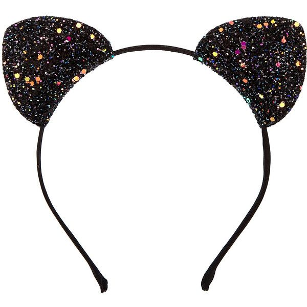 Black Glitter Cat Ears Headband ($7.99) ❤ liked on Polyvore featuring accessories, hair accessories, head wrap headband, headband hair accessories, thin headbands, hair band headband and glitter hair accessories