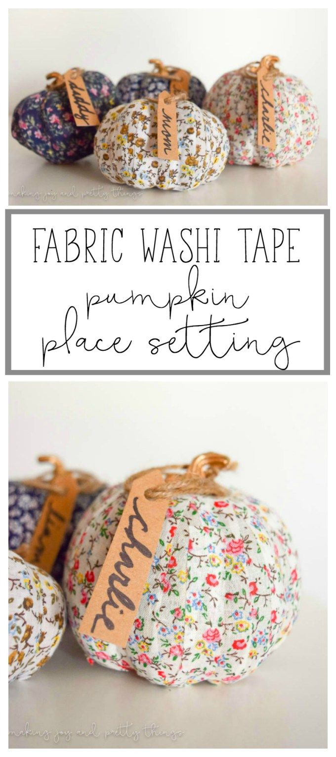 Add country charm to your Thanksgiving tablescape with this fabric washi tape pumpkin place setting tutorial by Making Joy and Pretty Things. Click in for the complete tutorial.