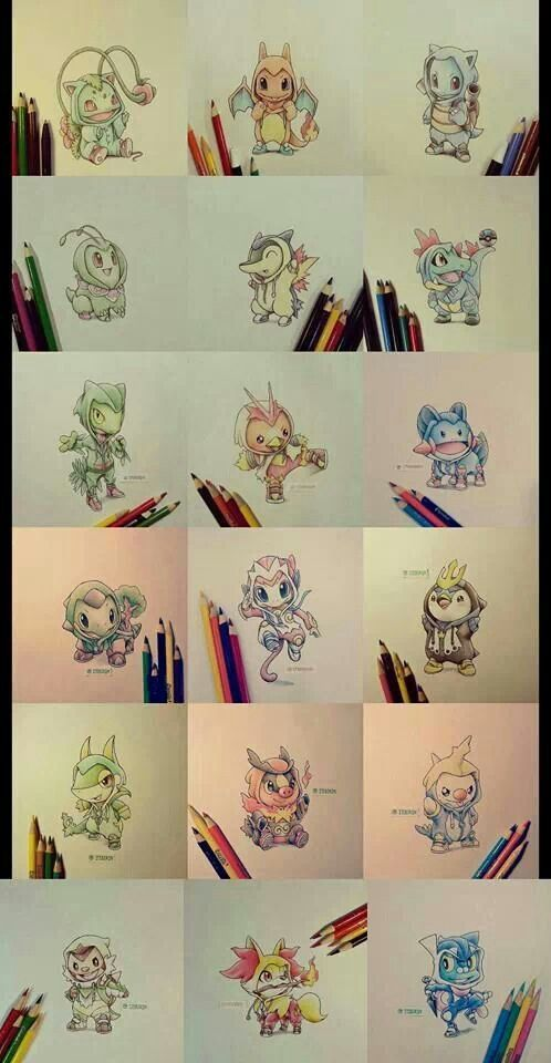 All starter pokemon in their full evolution all in ones, it too cute to even comprehend!: