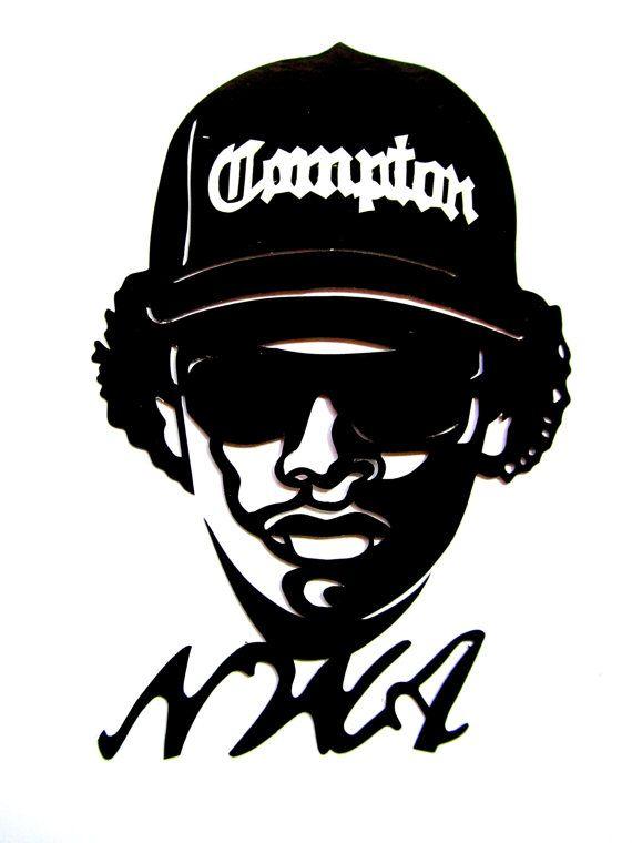 "NWA,Hip Hop, Eazy E, Stencil art, Reusable Black decal sticker 3""X 4.5"" inches…"
