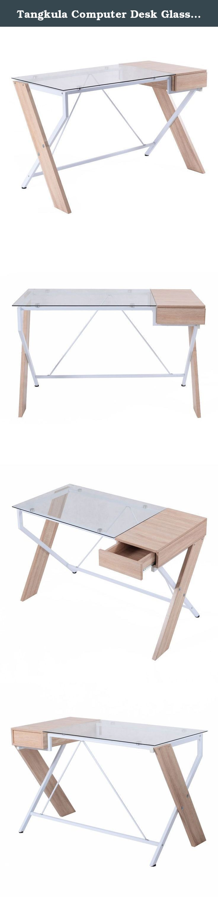 Tangkula Computer Desk Glass Top with Drawer Compute Desk Table Home Office Furniture. Clear Tempered Glass Top With Sleek Finish Wood Pull Out Drawer For More Storage Powder-Coated Steel Frame For Durable Use Classic X-Frame Leg Design Simple Assembling Need.