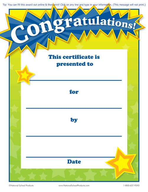 Printable Congratulations! Award for Teachers (Free) :: National School Products (To fill-in, this certificate works best with Adobe Reader)