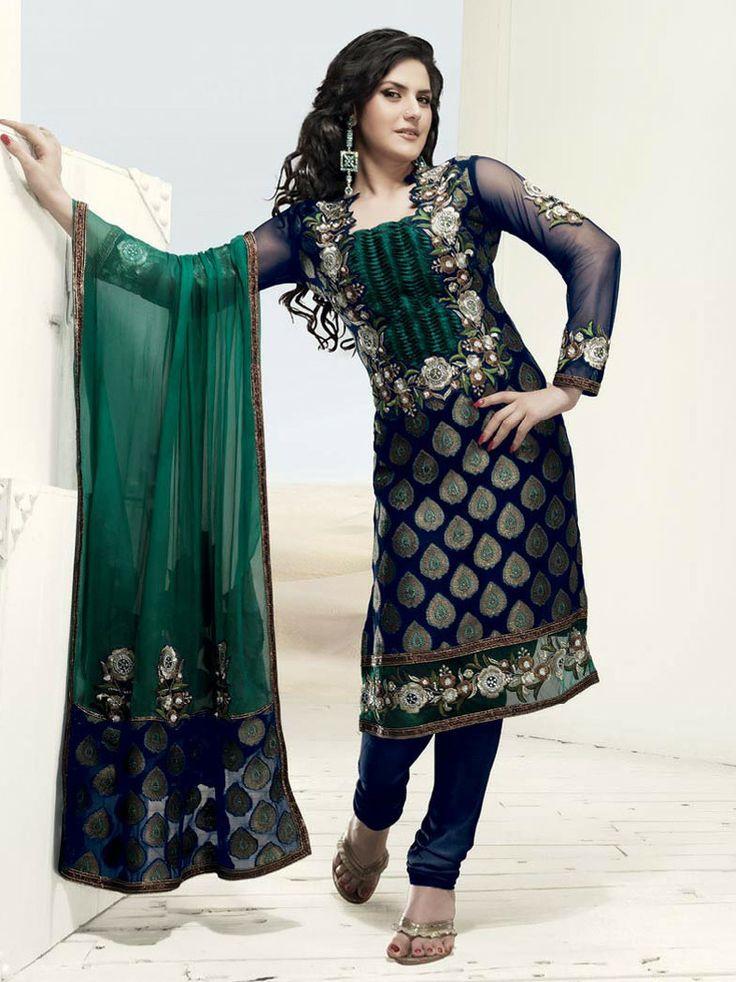 Blue And Green Churidar Kameez