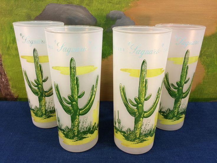 Vintage Blakely Oil And Gas, 4 Frosted Glasses, Arizona Cactus, Tumbler, Ice Tea, Beer Glasses, Southwestern Cactus Glassware by AdoptAKeepsake on Etsy