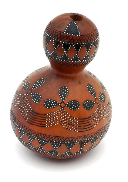 Africa | Gourd (calabash) container from the Ronga people of Mozambique | First half of the 20th century | Gourd, pigment and white glass beads