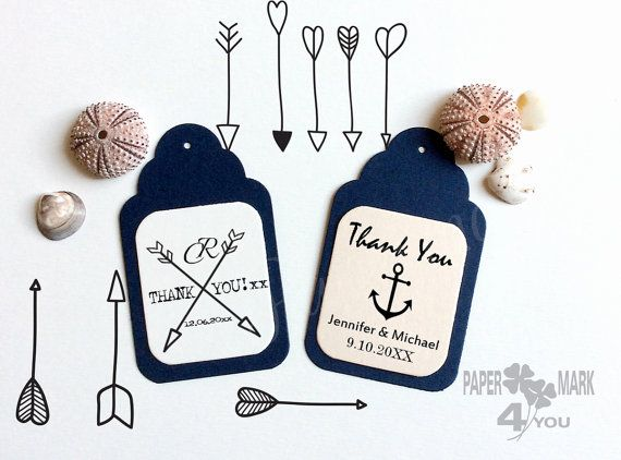 24 Wedding Personalized Tag 3x2 _Gift Tag_ Blu by PaperMark4You