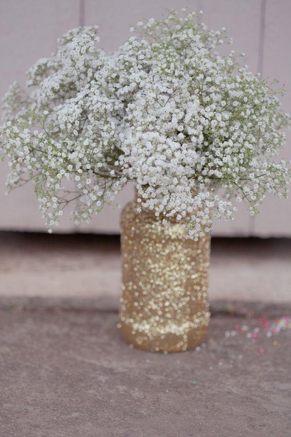 Rustic wedding ideas - Handmade Gold Glitter Mason Jars with Baby's Breath