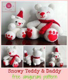 Snowy Baby and Daddy Teddy Bear - Free Amigurumi Pattern here: http://beacrafter.com/snowy-teddy-daddy-amigurumi/