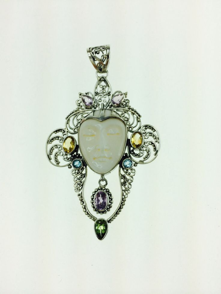 Multi stone and filigree pendant