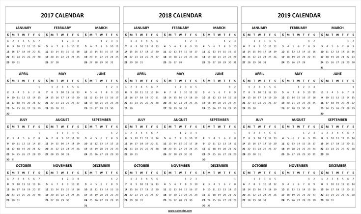 Get free blank printable 2017 2018 2019 Calendar template. These editable 2017 2018 2019 Calendar pages are available in PDF and Microsoft Word format.