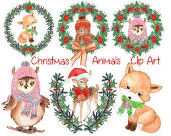 Watercolor Christmas Clipart Watercolor Animals Christmas Wreaths Kids Christmas Clip Art Cute Animals Christmas Watercolor Baby Clip Art Christmas Clipart
