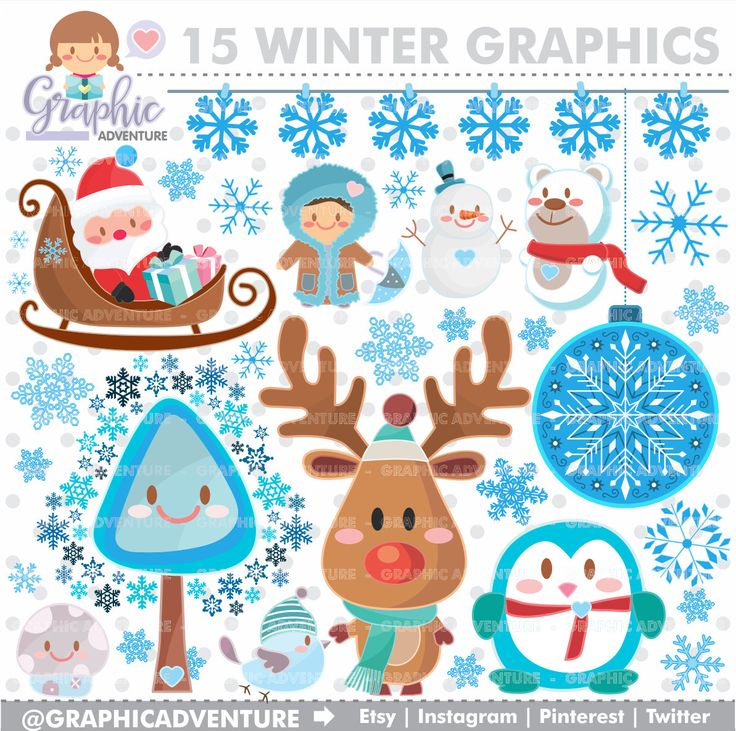 Winter Clipart, Winter Graphics, COMMERCIAL USE, Kawaii Clipart, Winter Party, Planner Accessories, Winter Bear, Christmas Clipart, Santa