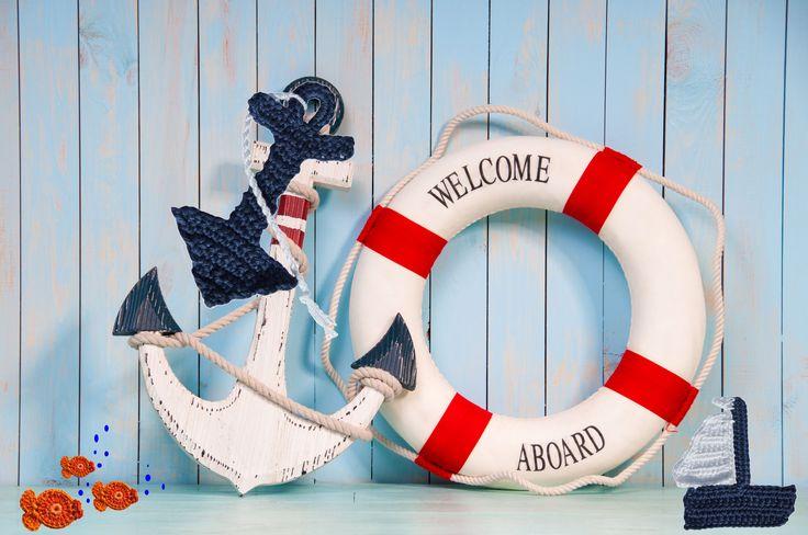 """""""In the navy"""" applicaties haken uit inhaken op vakantie. Op een handdoek of badjas"""