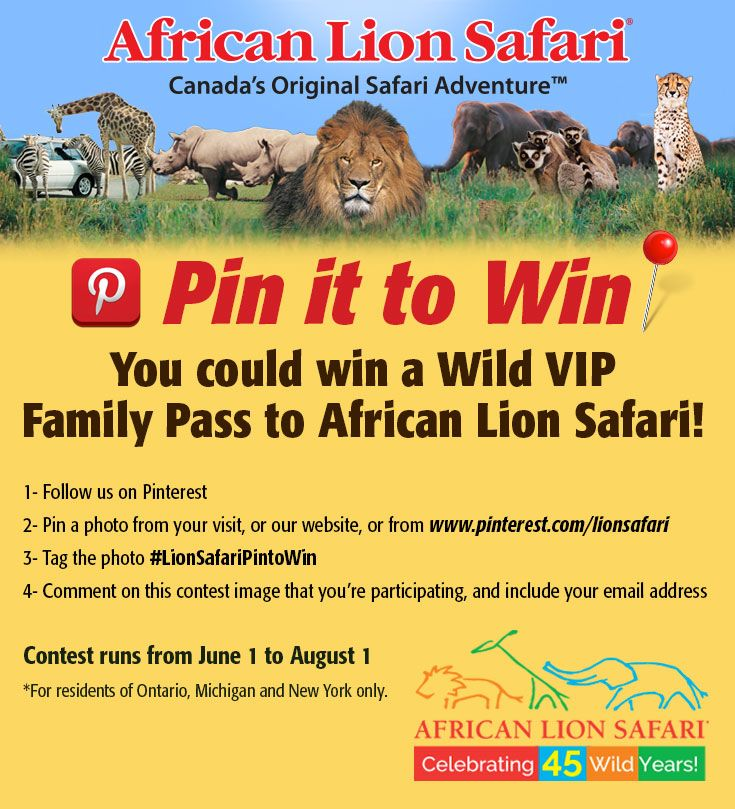 Follow the steps above to enter our contest for your chance to win a Wild VIP Family Pass to African Lion Safari!