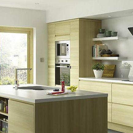 Kitchen-compare.com | B&Q IT Marletti Oak Effect Integrated Handle