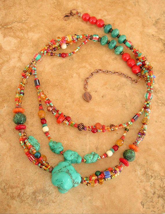 Collar de Boho, pedrería, capas collar, joyería de la turquesa, joyería bohemio, Southwest
