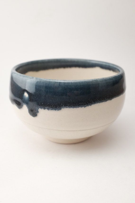 Chawan Tea Bowl for Green Matcha Tea in Blue by HappyCatPottery