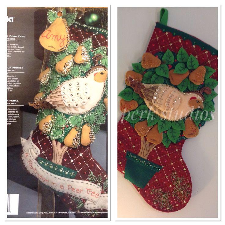 #Bucilla #Partridge in a Pear tree #Felted Appliqué #Christmas stocking #perk studios
