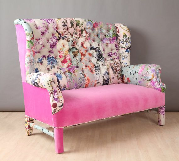 Etsy の Pink Candy wing patchwork sofa by namedesignstudio