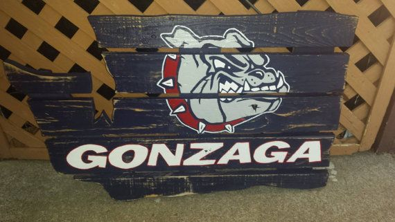 Gonzaga University Bulldogs sign constructed out of recycled pallets and hand painted, includes hanging wire and hardware already attached.