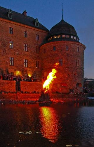Valborg (walpurgis night) at Örebro Castle, Sweden - Valborgsmässoafton, which has been celebrated in Sweden since the Middle Ages, is one of two Swedish holidays which still resemble their pre-Christian merrymaking. The other is Midsummer. The original pagan festival heralded the onset of the growth season. It attempted to ward off evil, ensure fertility and cleanse the land of the dried and dead of winter. Today, it is still the accepted gateway to long and warmer days.