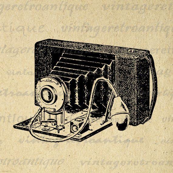 Printable Old Fashioned Camera Digital Image Illustration Download Graphic Vintage Clip Art Jpg Png Eps 18x18 HQ 300dpi No.1369 @ vintageretroantique.etsy.com