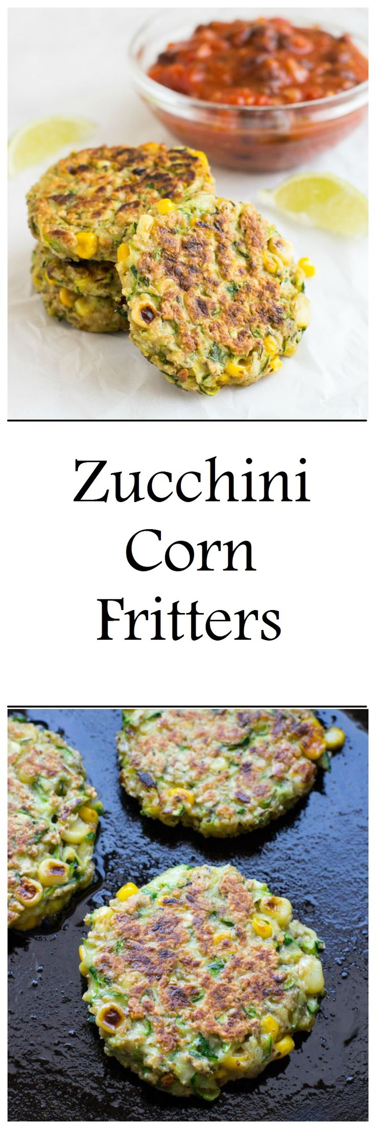 Zucchini Corn Fritters with Black Bean Salsa are a healthy and easy vegetarian option for dinner. They're dairy-free and can easily be made gluten-free as well! I hope you guys aren't tired of zucchini recipes yet because I've got one more for you! Well, actually I take that back. I've got six more for you …