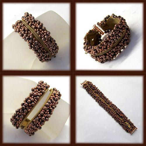 Βραχιόλι με χάντρες ραμμένες σε φερμουάρ.