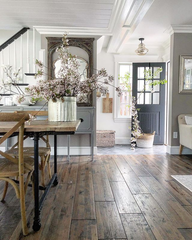 Wooden Floor And Open Space Hallway In 2020 Farmhouse Interior Rustic House Cheap Home Decor