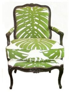 Merveilleux Green And White Palm Fabric Chair