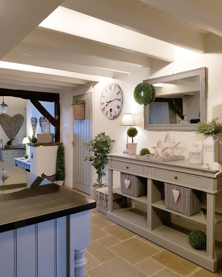 Warm greys creating the perfect country kitchen...add greeneey and home accessories. West Barn Interiors  #westbarninteriors #westbarnstyle #convertedbarn #cosy #countryhome #countryinteriors #housebeautiful