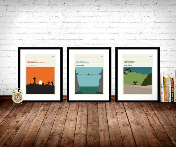 Indiana Jones Movie Posters  Set of Prints Movie by LawandMoore