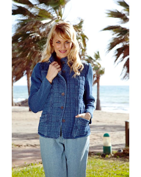 Blue Willi's Indigo Blue quilted jacket. 100% cotton. Machine washable. Available small to size XXXL.