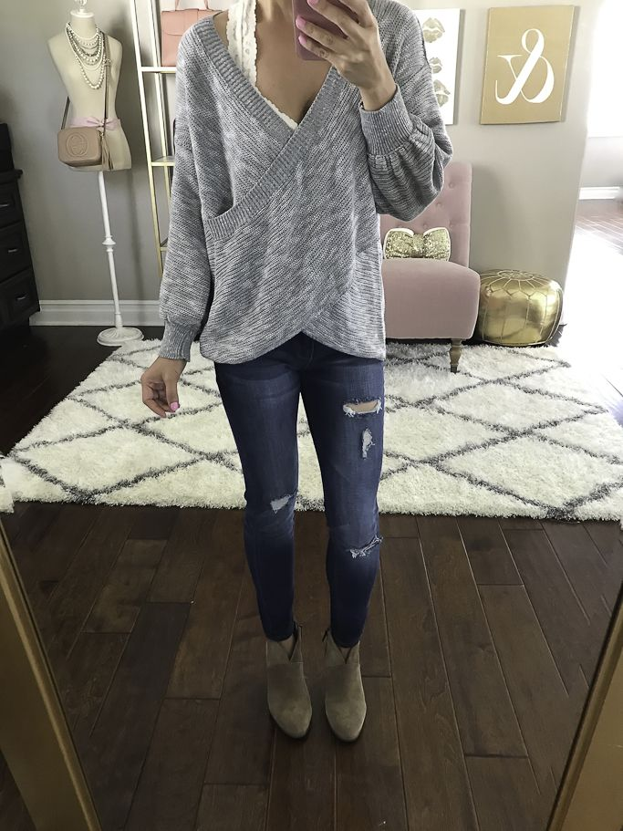 casual weekend outfit, petite distressed denim, franell ankle bootie, petite fashion blog, stylish petite - click the photo for outfit details!