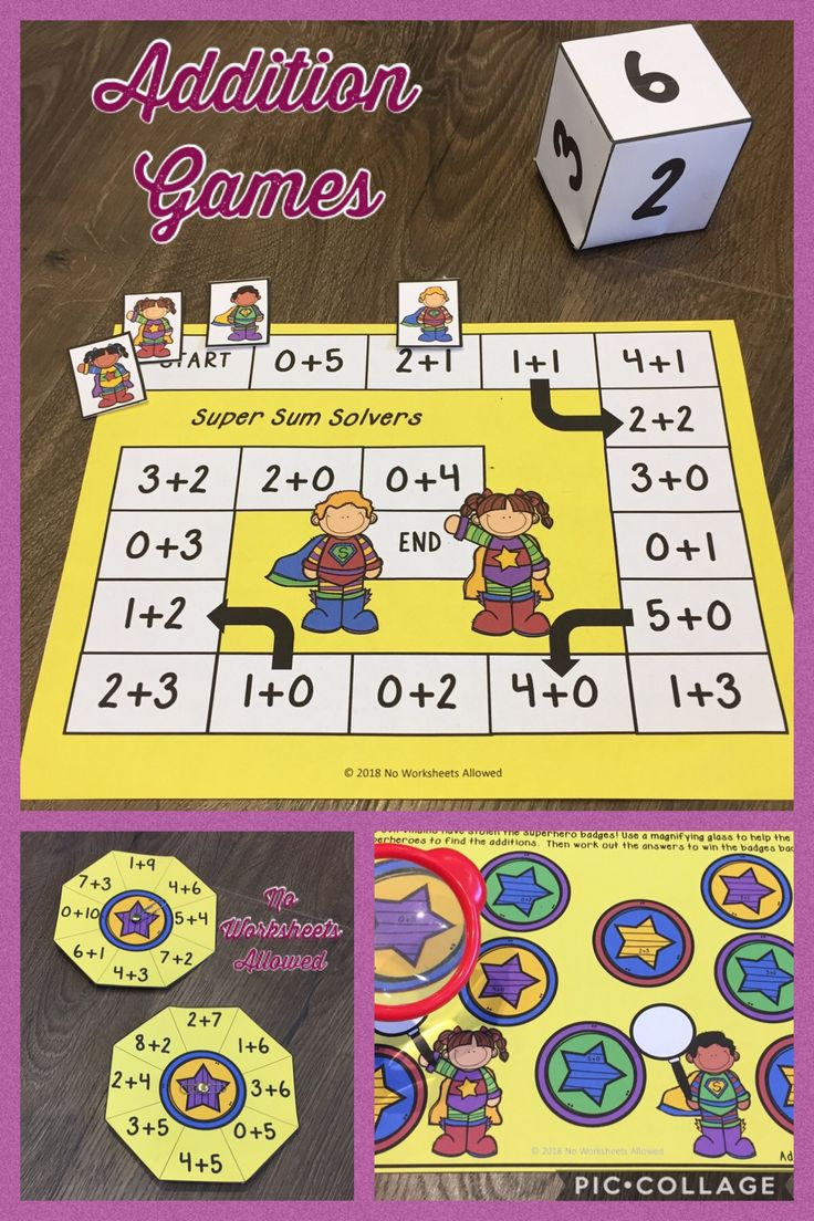 Addition games and activities for Kindergarten/1st Grade. Perfect for back to school.