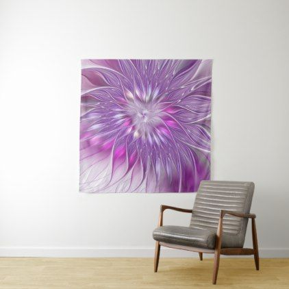 Pink Purple Flower Passion Abstract Fractal Art Tapestry - girly gifts special unique gift idea custom