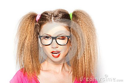 Curly Girl With Hipster Glasses And Two Tails - Download From Over 50 Million High Quality Stock Photos, Images, Vectors. Sign up for FREE today. Image: 25448553