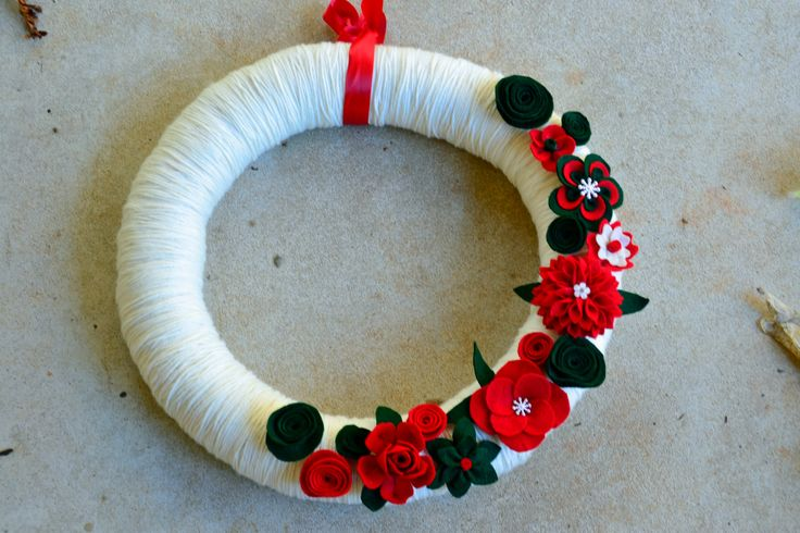 "SALE!! 18"" Handmade Christmas Red & Green Felt Flower and Yarn Wreath Originally 40.00 by TheQuillery on Etsy"