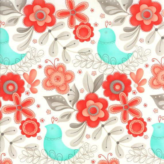 turquoise and red fabric | Red Aqua and Grey Floral Bird Fabric, Flirt By Sandy Gervais For Moda ...