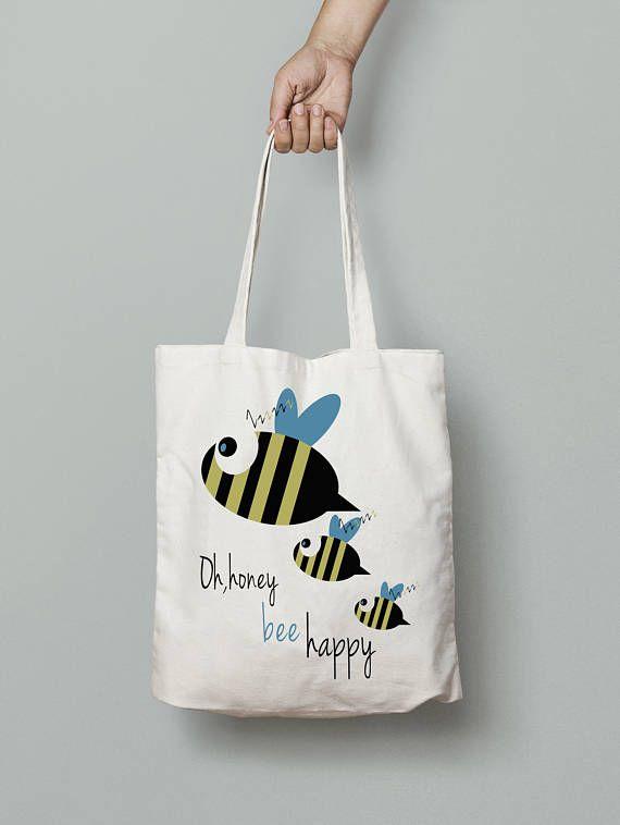Bee happy Bee bag Canvas tote bag Printed tote bag school