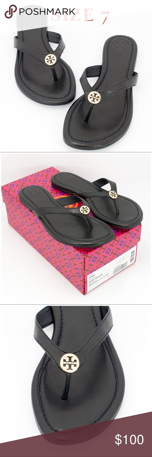"TORY BURCH THONG VEG LEATHER SANDALS SIZE 7 NEW! TORY BURCH ~ Thong Veg Leather Black/Gold Sandals Brand New with Box  Size: US 7  Regular (M, B)  RETAILS: $150  The epitome of carefree elegance, the Pearce Thong Sandal features impeccable details on the ultimate leisure-perfect shoe. A comfortable wide band, mini gold logo and Veg leather footbed create a look that's simply chic.  -1/4"" stacked heel.  -Leather footbed.  -Rubber sole.  -Imported. Comes in an original Tory Burch Shoe Box…"