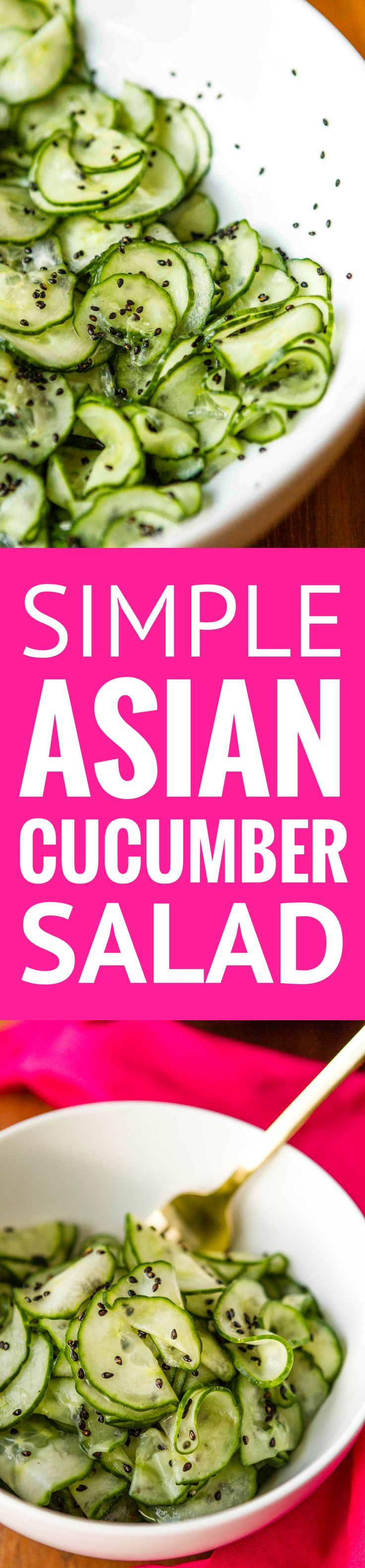 Asian Cucumber Salad -- this simple cucumber salad is super light and refreshing, perfect for hot summer days… Rice vinegar and dark sesame oil, along with toasted sesame seeds give it a delicious Asian flair!   easy cucumber salad   cucumber salad vinegar   healthy cucumber salad   find the recipe on unsophisticook.com